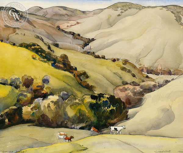Gaviota Range, 1932, California art by Millard Sheets. HD giclee art prints for sale at CaliforniaWatercolor.com - original California paintings, & premium giclee prints for sale