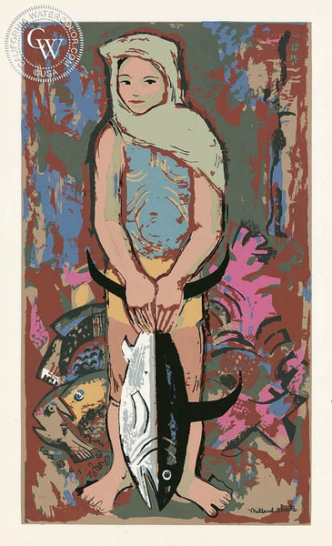 Millard Sheets - Girl with Fish, c. 1940's - California art - fine art print for sale, giclee watercolor print - Californiawatercolor.com