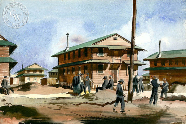Half Hour Rest Period, Camp Roberts, c. 1940's, California art by Millard Sheets. HD giclee art prints for sale at CaliforniaWatercolor.com - original California paintings, & premium giclee prints for sale