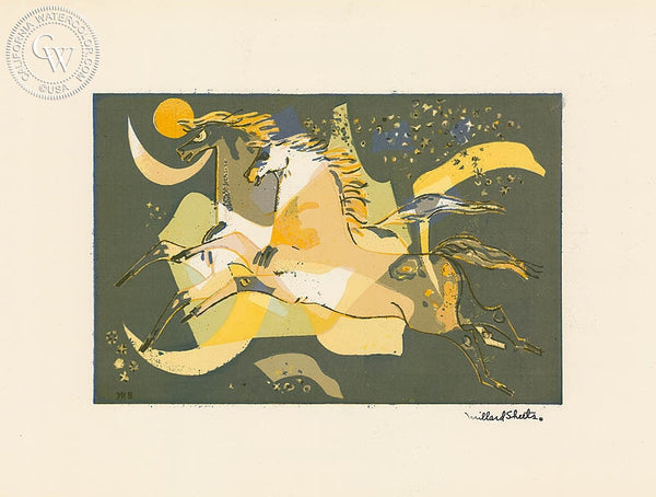 Millard Sheets - Horses in Motion, c. 1940's - California art - fine art print for sale, giclee watercolor print - Californiawatercolor.com