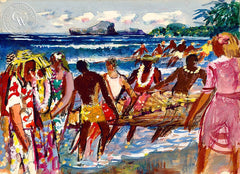 Hukilau, Tourists and Natives in Hawaii, 1951, Tourists and Natives in Hawaii, 1951, California art by Millard Sheets. HD giclee art prints for sale at CaliforniaWatercolor.com - original California paintings, & premium giclee prints for sale