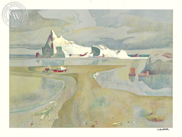 Millard Sheets - Island Sky, c. 1970's - California art - fine art print for sale, giclee watercolor print - Californiawatercolor.com