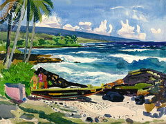Kona, Hawaii, California watercolor art by Millard Sheets. HD giclee art prints for sale at CaliforniaWatercolor.com - original California paintings, & premium giclee prints for sale