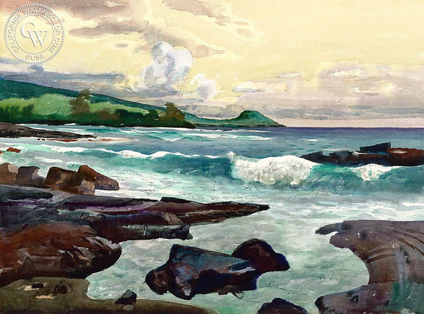 Kona Surf, 1982, California art by Millard Sheets. HD giclee art prints for sale at CaliforniaWatercolor.com - original California paintings, & premium giclee prints for sale