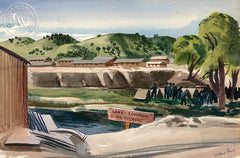 Lake Lohman - No Fishing, 1941, California art by Millard Sheets. HD giclee art prints for sale at CaliforniaWatercolor.com - original California paintings, & premium giclee prints for sale