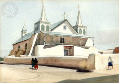 Mexican Church, 1931, California art by Millard Sheets. HD giclee art prints for sale at CaliforniaWatercolor.com - original California paintings, & premium giclee prints for sale