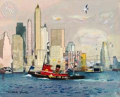 Manhattan Skyline, c. 1930's, California art by Millard Sheets. HD giclee art prints for sale at CaliforniaWatercolor.com - original California paintings, & premium giclee prints for sale