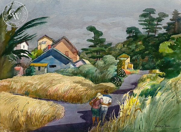 Mendocino Love, 1983, California art by Millard Sheets. HD giclee art prints for sale at CaliforniaWatercolor.com - original California paintings, & premium giclee prints for sale