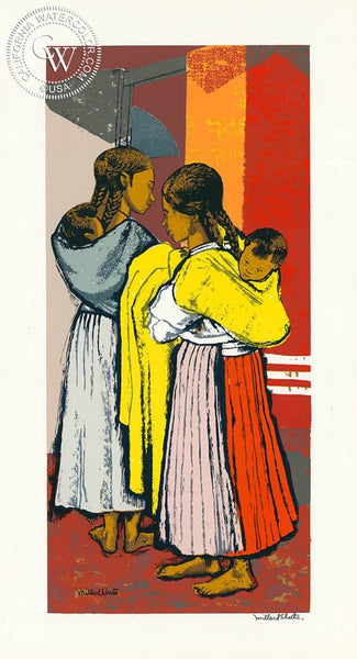 Millard Sheets - Mexican Baby Sitters, c. 1940's - California art - fine art print for sale, giclee watercolor print - Californiawatercolor.com
