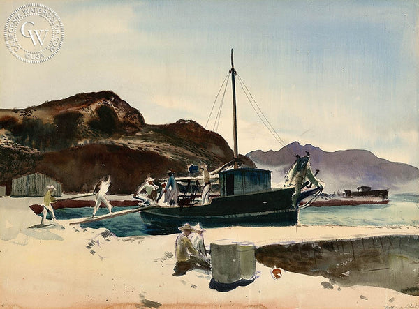 Mexican Coast, 1950, California art by Millard Sheets. HD giclee art prints for sale at CaliforniaWatercolor.com - original California paintings, & premium giclee prints for sale