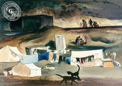 Migratory Camp near Nipomo, 1936, California art by Millard Sheets. HD giclee art prints for sale at CaliforniaWatercolor.com - original California paintings, & premium giclee prints for sale