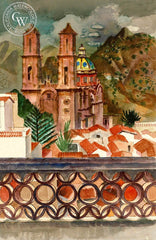 Mission, Mexico, 1970, California art by Millard Sheets. HD giclee art prints for sale at CaliforniaWatercolor.com - original California paintings, & premium giclee prints for sale