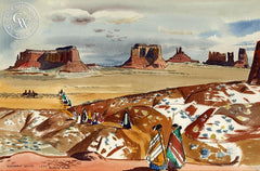 Monument Valley, 1944, California art by Millard Sheets. HD giclee art prints for sale at CaliforniaWatercolor.com - original California paintings, & premium giclee prints for sale