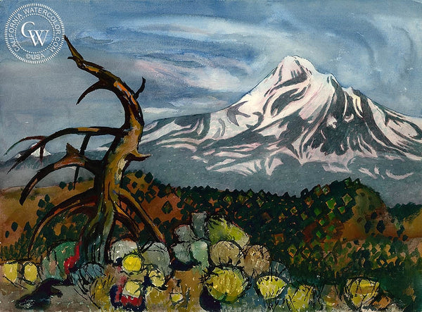 Mount Shasta, c. 1970's, California art by Millard Sheets. HD giclee art prints for sale at CaliforniaWatercolor.com - original California paintings, & premium giclee prints for sale
