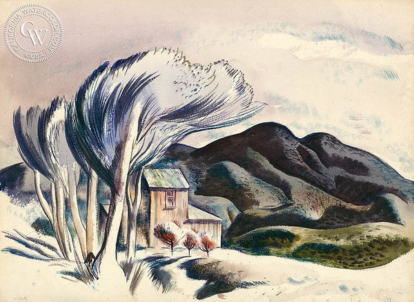 Mountain Retreat, 1939, California art by Millard Sheets. HD giclee art prints for sale at CaliforniaWatercolor.com - original California paintings, & premium giclee prints for sale