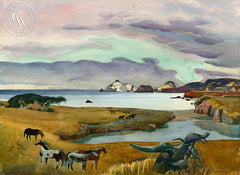 Mouth of the Gualala River, 1977, California art by Millard Sheets. HD giclee art prints for sale at CaliforniaWatercolor.com - original California paintings, & premium giclee prints for sale