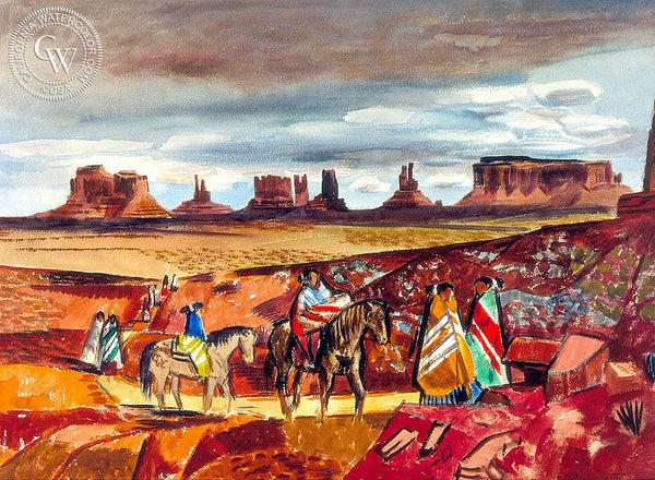 Navajo Country, c. 1950's, California art by Millard Sheets. HD giclee art prints for sale at CaliforniaWatercolor.com - original California paintings, & premium giclee prints for sale
