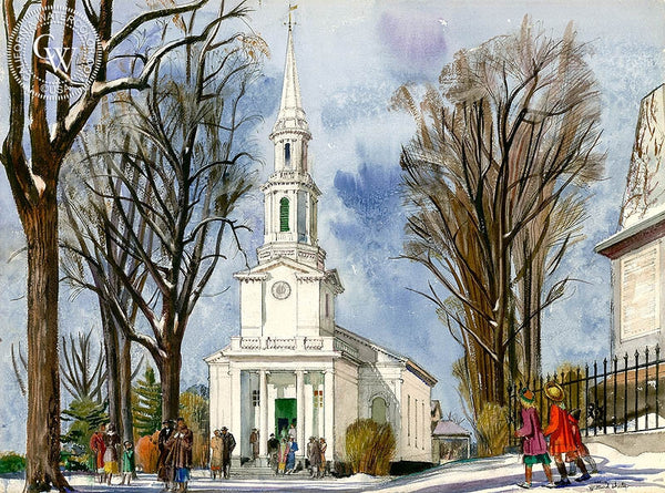 New England Church, Lexington, 1956, California art by Millard Sheets. HD giclee art prints for sale at CaliforniaWatercolor.com - original California paintings, & premium giclee prints for sale