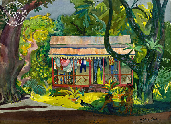 Old House, Tahiti, 1973, California art by Millard Sheets. HD giclee art prints for sale at CaliforniaWatercolor.com - original California paintings, & premium giclee prints for sale