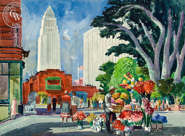 Olvera Street, 1951, California art by Millard Sheets. HD giclee art prints for sale at CaliforniaWatercolor.com - original California paintings, & premium giclee prints for sale