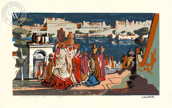 Millard Sheets - Palace of Udaipur, India, c. 1944 - California art - fine art print for sale, giclee watercolor print - Californiawatercolor.com