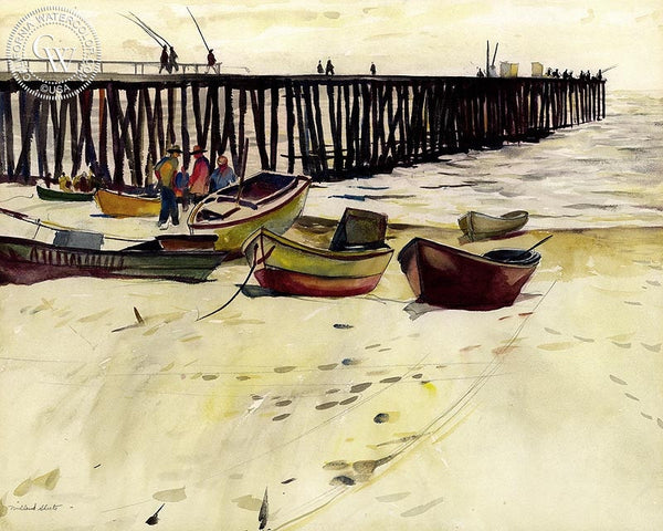 Path of Light, Newport Pier, 1927, California art by Millard Sheets. HD giclee art prints for sale at CaliforniaWatercolor.com - original California paintings, & premium giclee prints for sale