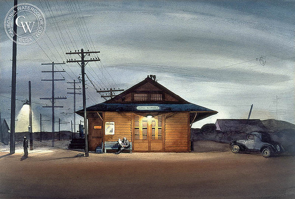 San Dimas Train Station, 1933, California watercolor art by Millard Sheets. HD giclee art prints for sale at CaliforniaWatercolor.com - original California paintings, & premium giclee prints for sale