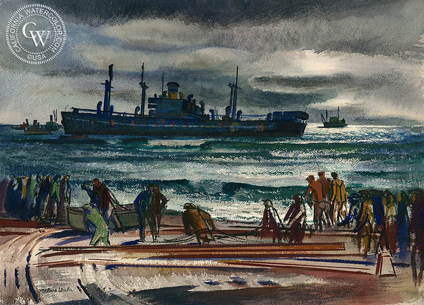 Sea Operation, 1949, California watercolor art by Millard Sheets. HD giclee art prints for sale at CaliforniaWatercolor.com - original California paintings, & premium giclee prints for sale