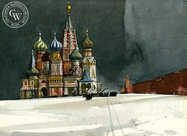 St. Basil Church, Moscow, Russia, 1982, California art by Millard Sheets. HD giclee art prints for sale at CaliforniaWatercolor.com - original California paintings, & premium giclee prints for sale