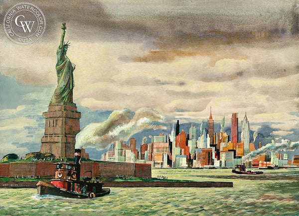 Statue of Liberty, New York Harbor, 1958, California art by Millard Sheets. HD giclee art prints for sale at CaliforniaWatercolor.com - original California paintings, & premium giclee prints for sale