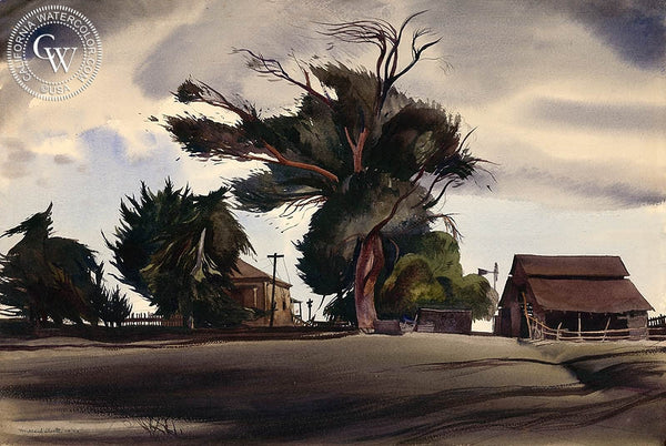Storm Shadows, 1933, California art by Millard Sheets. HD giclee art prints for sale at CaliforniaWatercolor.com - original California paintings, & premium giclee prints for sale