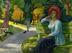 Strangers in the Park, New York Central Park, 1983, California art by Millard Sheets. HD giclee art prints for sale at CaliforniaWatercolor.com - original California paintings, & premium giclee prints for sale