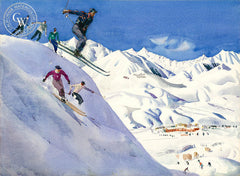 Sun Valley Skiiers, c. 1950s, California art by Millard Sheets. HD giclee art prints for sale at CaliforniaWatercolor.com - original California paintings, & premium giclee prints for sale