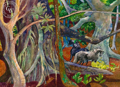The Old Banyan Tree with Horses, Hawaii, 1982, California art by Millard Sheets. HD giclee art prints for sale at CaliforniaWatercolor.com - original California paintings, & premium giclee prints for sale