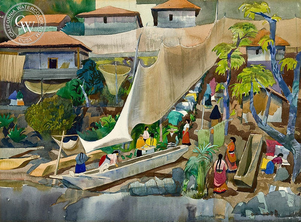 The Return, Patzcuaro, 1953, California art by Millard Sheets. HD giclee art prints for sale at CaliforniaWatercolor.com - original California paintings, & premium giclee prints for sale