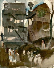 The Tenement, 1928, California art by Millard Sheets. HD giclee art prints for sale at CaliforniaWatercolor.com - original California paintings, & premium giclee prints for sale