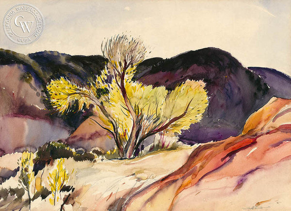 Yellow Tree, c. 1940's, California art by Millard Sheets. HD giclee art prints for sale at CaliforniaWatercolor.com - original California paintings, & premium giclee prints for sale