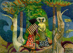 Two Ladies in the Park, 1975, California art by Millard Sheets. HD giclee art prints for sale at CaliforniaWatercolor.com - original California paintings, & premium giclee prints for sale