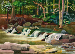 Waterfall, c. 1960's, California art by Millard Sheets. HD giclee art prints for sale at CaliforniaWatercolor.com - original California paintings, & premium giclee prints for sale