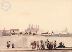 Workers Along the L.A. River, 1927, California art by Millard Sheets. HD giclee art prints for sale at CaliforniaWatercolor.com - original California paintings, & premium giclee prints for sale