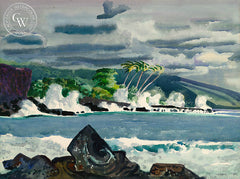 Millard Sheets - Heavy Surf, Hawaii, 1951, California art, original California watercolor art for sale, fine art print for sale, giclee watercolor print - CaliforniaWatercolor.com