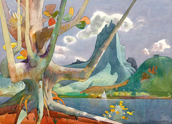 Maua Roa Through Old Kamani Tree, Moorea, 1980, California art by Millard Sheets. HD giclee art prints for sale at CaliforniaWatercolor.com - original California paintings, & premium giclee prints for sale