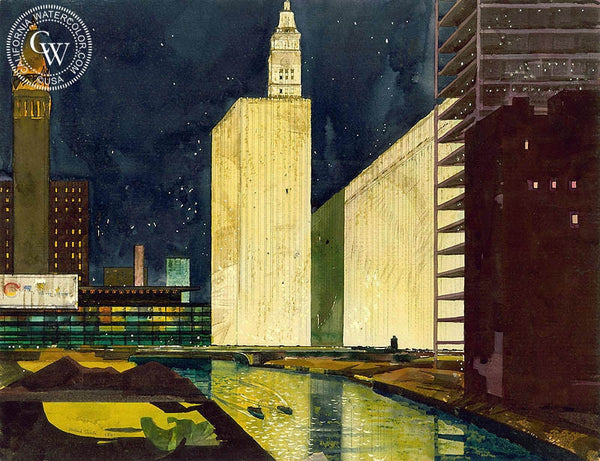 Starlight Night, Chicago, 1951, California art by Millard Sheets. HD giclee art prints for sale at CaliforniaWatercolor.com - original California paintings, & premium giclee prints for sale