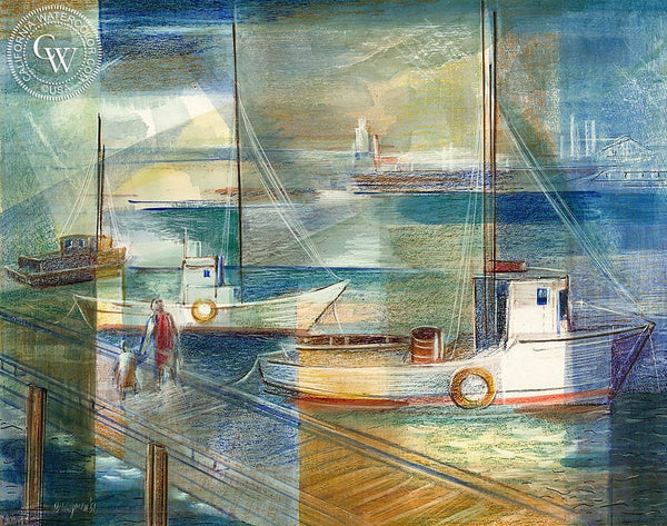 Harbor, 1951, California art by Milton Gershgoren. HD giclee art prints for sale at CaliforniaWatercolor.com - original California paintings, & premium giclee prints for sale