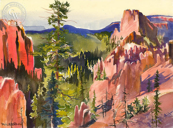 Swamp Creek Canyon, California art by Miri Weible. HD giclee art prints for sale at CaliforniaWatercolor.com - original California paintings, & premium giclee prints for sale