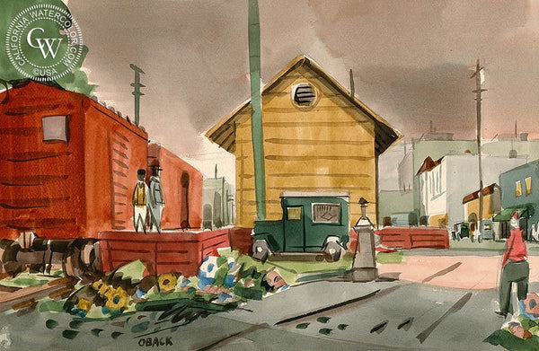 Southern Pacific Roundhouse, Oakland, c. 1951, California art by N. Eric Oback. HD giclee art prints for sale at CaliforniaWatercolor.com - original California paintings, & premium giclee prints for sale