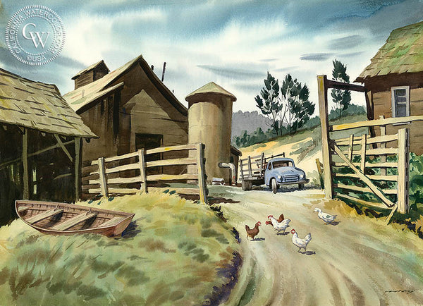 Ten Mile Ranch, California art by Nat Levy. HD giclee art prints for sale at CaliforniaWatercolor.com - original California paintings, & premium giclee prints for sale