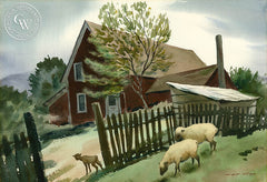 The Curious Lamb, California art by Nat Levy. HD giclee art prints for sale at CaliforniaWatercolor.com - original California paintings, & premium giclee prints for sale