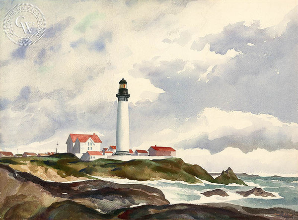 Pigeon Point Lighthouse, California art by Nat Levy. HD giclee art prints for sale at CaliforniaWatercolor.com - original California paintings, & premium giclee prints for sale