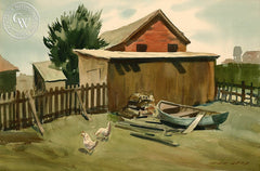The Chicken Coop, California art by Nat Levy. HD giclee art prints for sale at CaliforniaWatercolor.com - original California paintings, & premium giclee prints for sale
